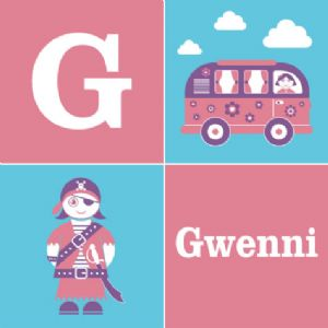 Wallspice Personalised Kids Art :: Their Name With Our Camper Van and Pirate Illustrations